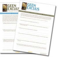 Geen Excuus worksheets PDF